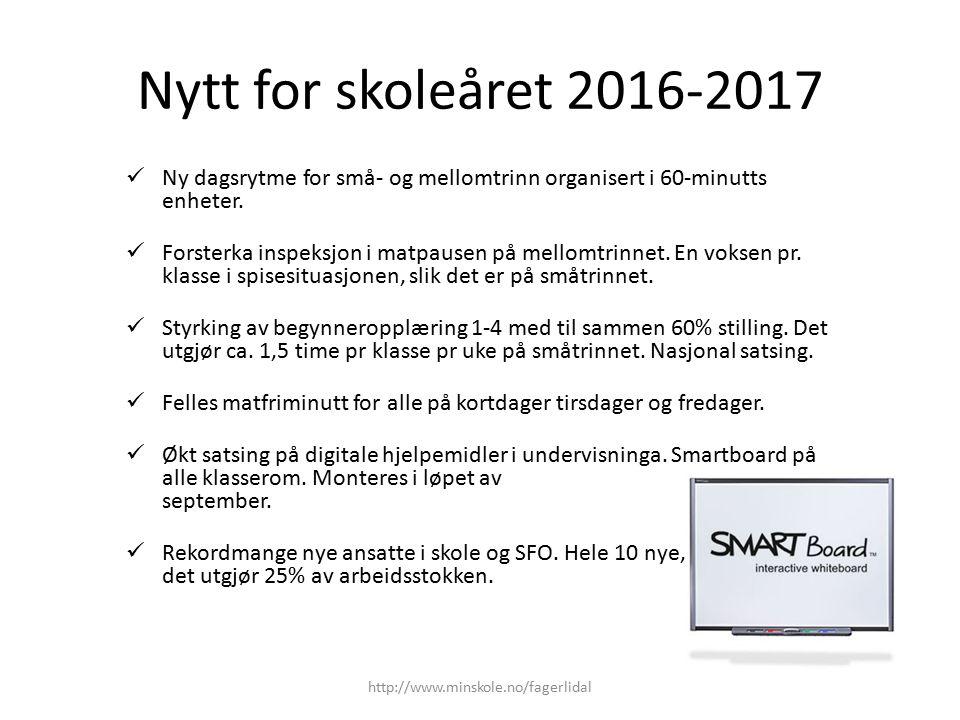Nytt for skoleåret 2016-2017 Ny dagsrytme for små- og mellomtrinn organisert i 60-minutts enheter. Forsterka inspeksjon i matpausen på mellomtrinnet.