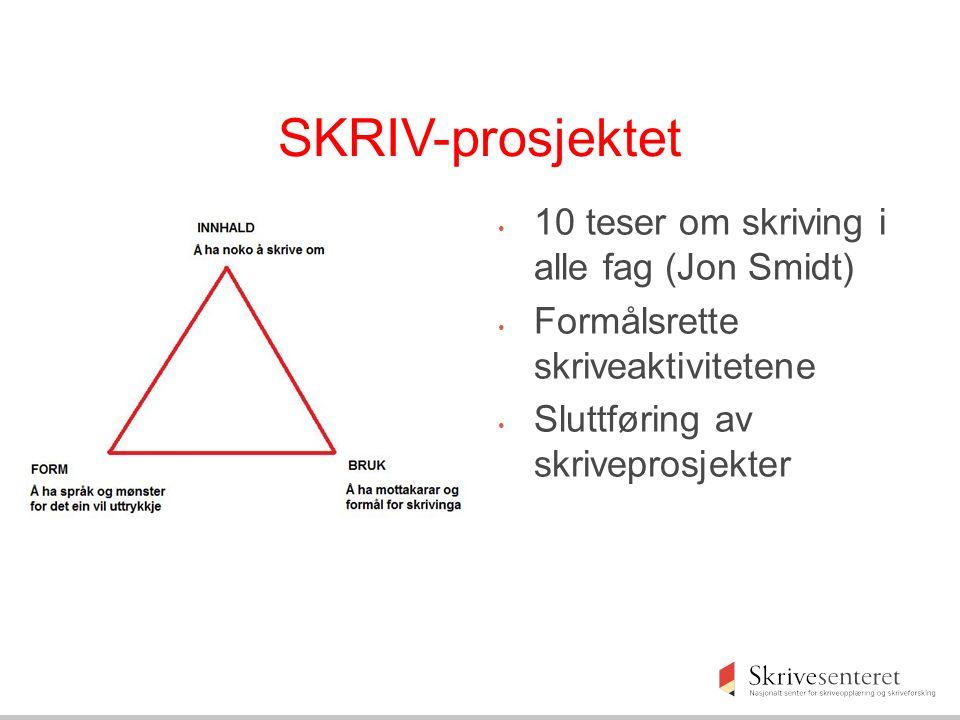 SKRIV-prosjektet 10 teser om skriving i alle fag (Jon Smidt) Formålsrette skriveaktivitetene Sluttføring av skriveprosjekter