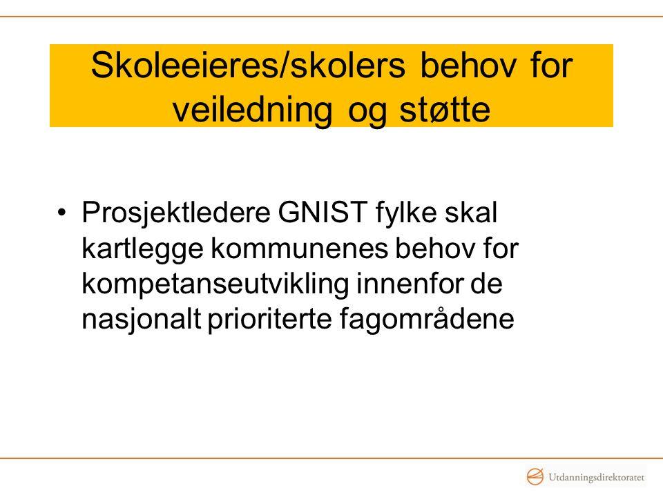 Skoleeieres/skolers behov for veiledning og støtte Prosjektledere GNIST fylke skal kartlegge kommunenes behov for kompetanseutvikling innenfor de nasj