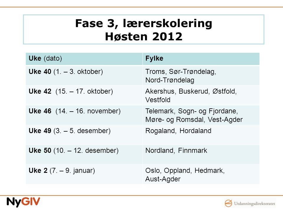 Fase 3, lærerskolering Høsten 2012 Uke (dato)Fylke Uke 40 (1. – 3. oktober)Troms, Sør-Trøndelag, Nord-Trøndelag Uke 42 (15. – 17. oktober)Akershus, Bu