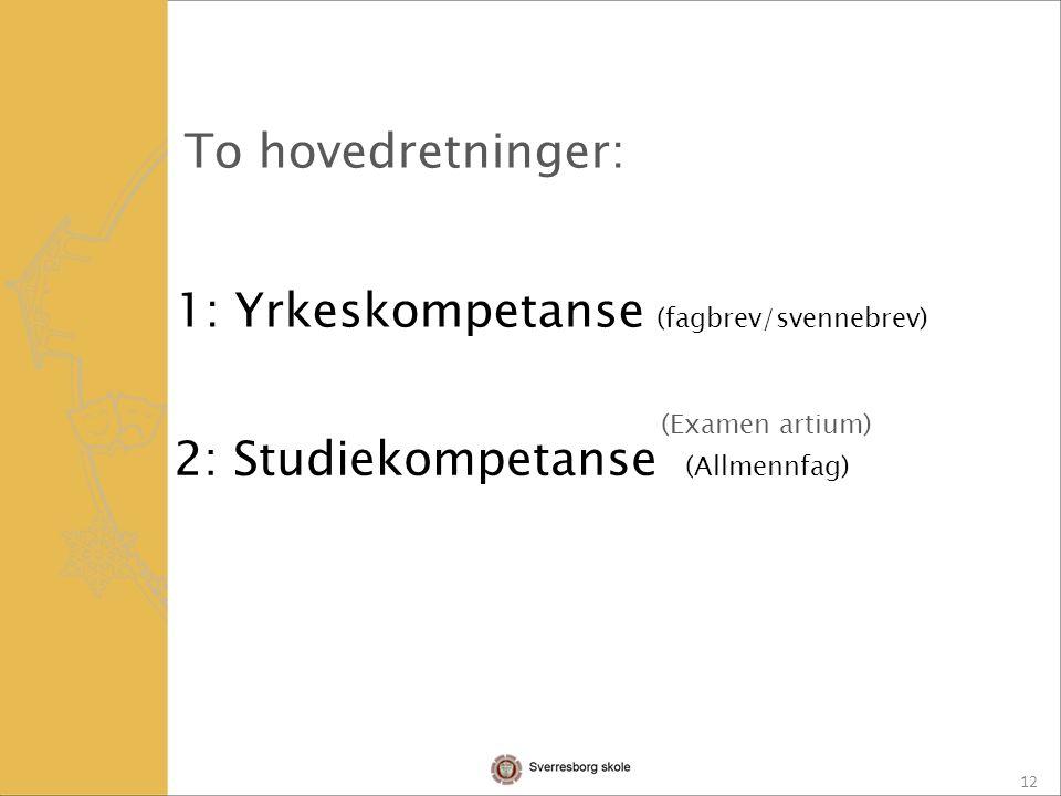 12 To hovedretninger: 1: Yrkeskompetanse (fagbrev/svennebrev) 2: Studiekompetanse (Allmennfag) (Examen artium)