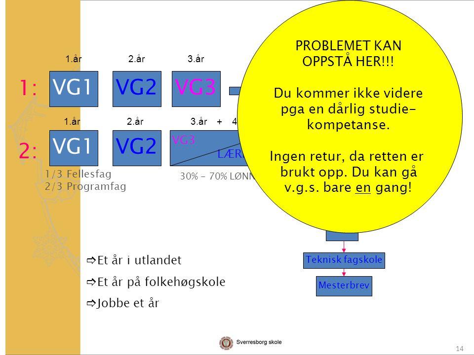 14 VG1VG2VG3 VG1VG2 VG3 LÆRLING Studie- kompetanse Fagbrev Svennebrev Høyskole/ universitet Jobb Allm.fag.