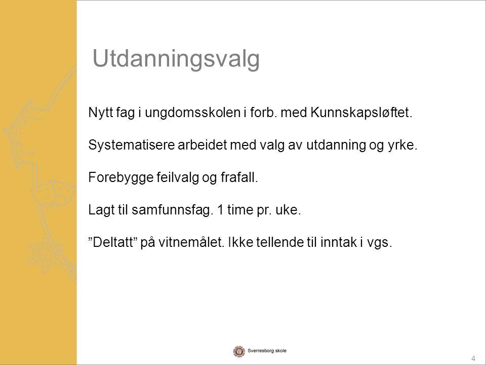 4 Nytt fag i ungdomsskolen i forb. med Kunnskapsløftet.