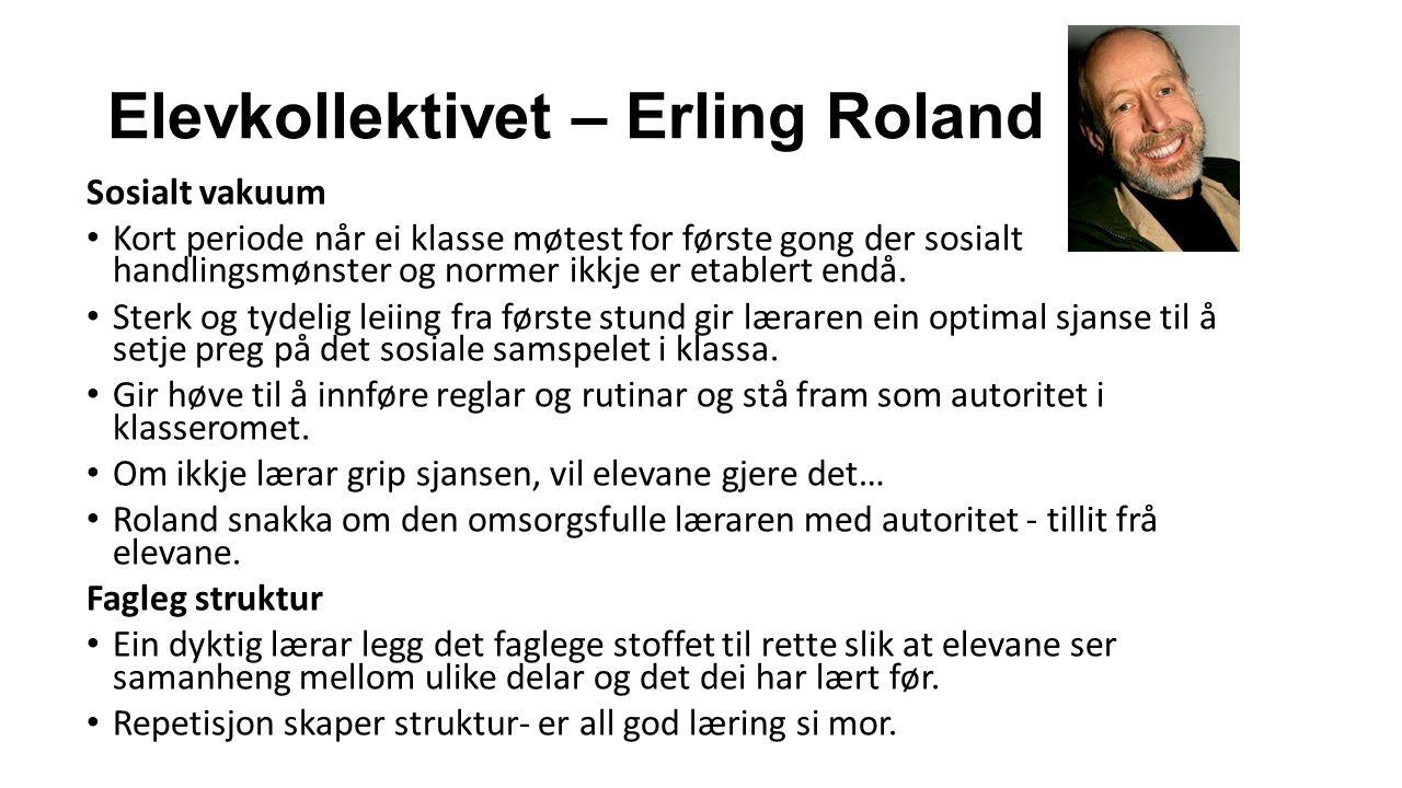 Elevkollektivet – Erling Roland Sosialt vakuum Kort periode når ei klasse møtest for første gong der sosialt handlingsmønster og normer ikkje er etablert endå.