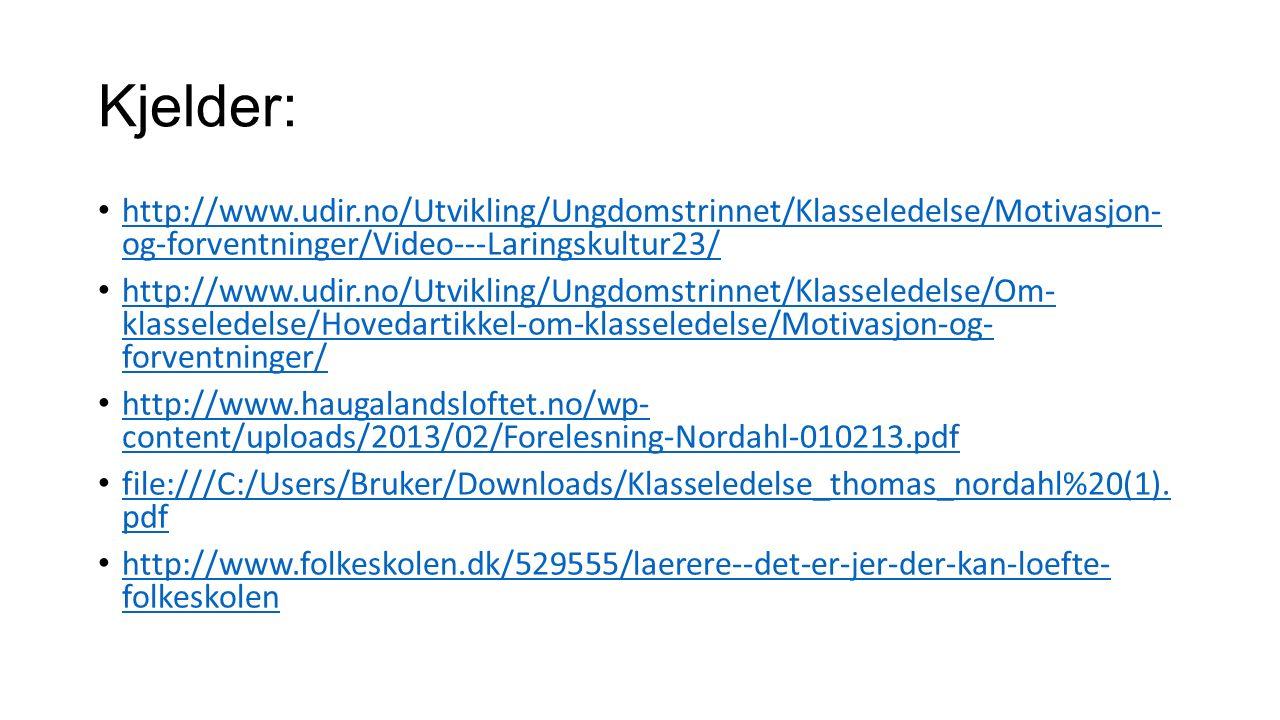 Kjelder: http://www.udir.no/Utvikling/Ungdomstrinnet/Klasseledelse/Motivasjon- og-forventninger/Video---Laringskultur23/ http://www.udir.no/Utvikling/