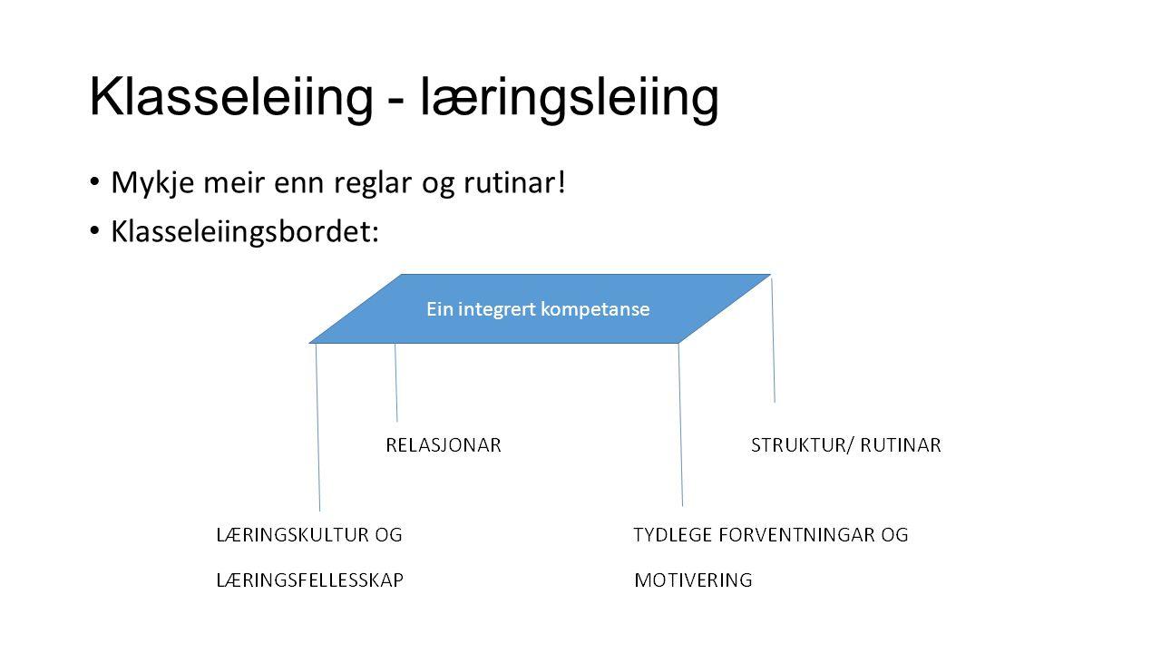 Klasseleiing - læringsleiing Mykje meir enn reglar og rutinar! Klasseleiingsbordet: Ein integrert kompetanse