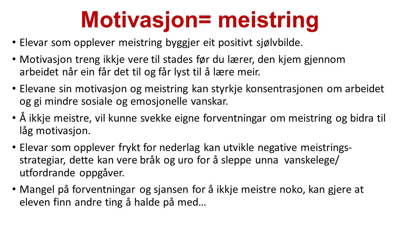 Motivasjon= meistring Elevar som opplever meistring byggjer eit positivt sjølvbilde. Motivasjon treng ikkje vere til stades før du lærer, den kjem gje