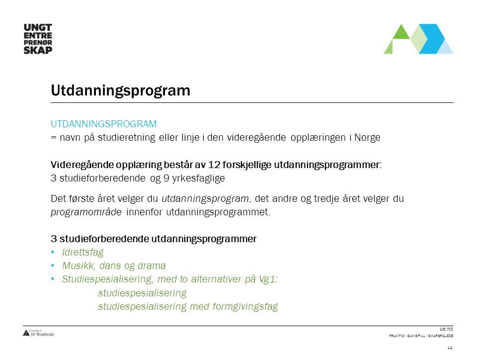 ue.no Utdanningsprogram UTDANNINGSPROGRAM = navn på studieretning eller linje i den videregående opplæringen i Norge Videregående opplæring består av 12 forskjellige utdanningsprogrammer: 3 studieforberedende og 9 yrkesfaglige Det første året velger du utdanningsprogram, det andre og tredje året velger du programområde innenfor utdanningsprogrammet.