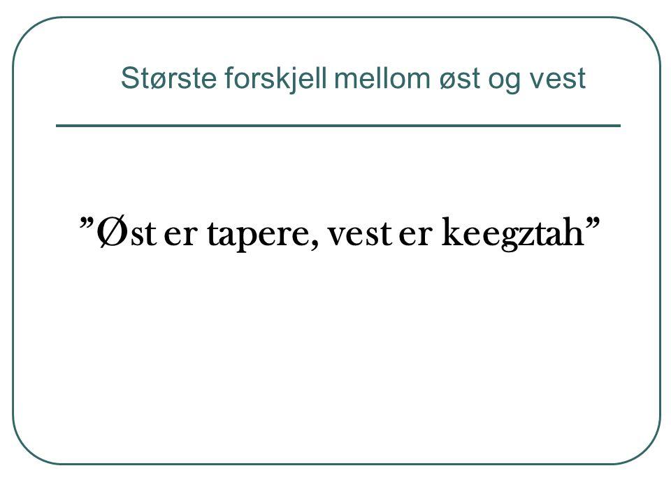 """""""Øst er tapere, vest er keegztah"""" Største forskjell mellom øst og vest"""