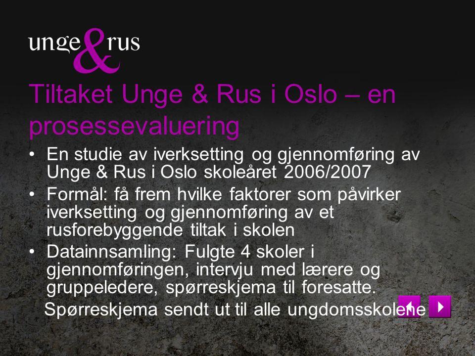 Tiltaket Unge & Rus i Oslo – en prosessevaluering En studie av iverksetting og gjennomføring av Unge & Rus i Oslo skoleåret 2006/2007 Formål: få frem