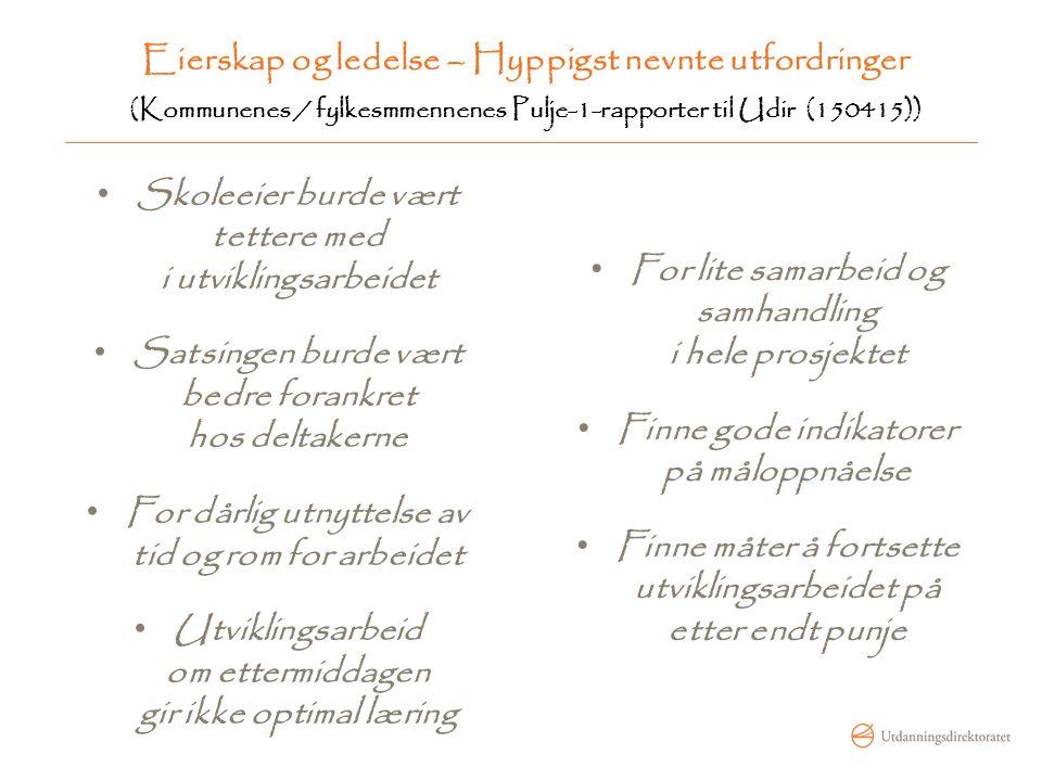 Eierskap og ledelse – Hyppigst nevnte utfordringer (Kommunenes / fylkesmmennenes Pulje-1-rapporter til Udir (150415)) Skoleeier burde vært tettere med
