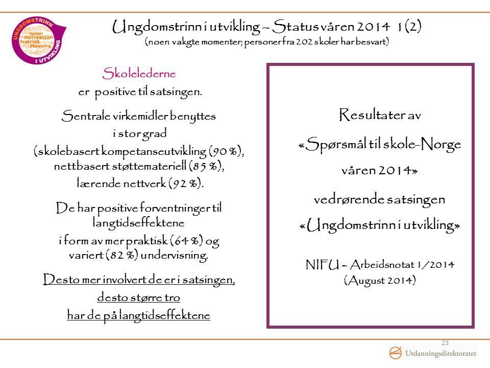 Ungdomstrinn i utvikling – Status våren 2014 1(2) (noen vakgte momenter; personer fra 202 skoler har besvart) Skolelederne er positive til satsingen.