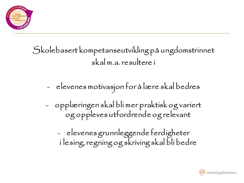 Skolebasert kompetanseutvikling på ungdomstrinnet skal m.a.