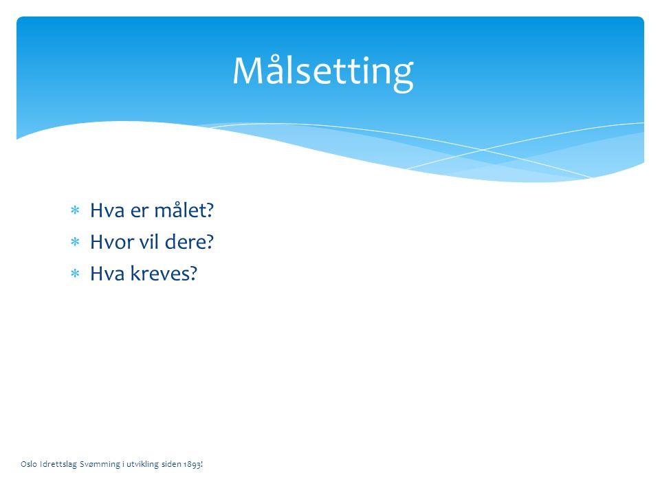  Hva er målet.  Hvor vil dere.  Hva kreves. Oslo Idrettslag Svømming i utvikling siden 1893.