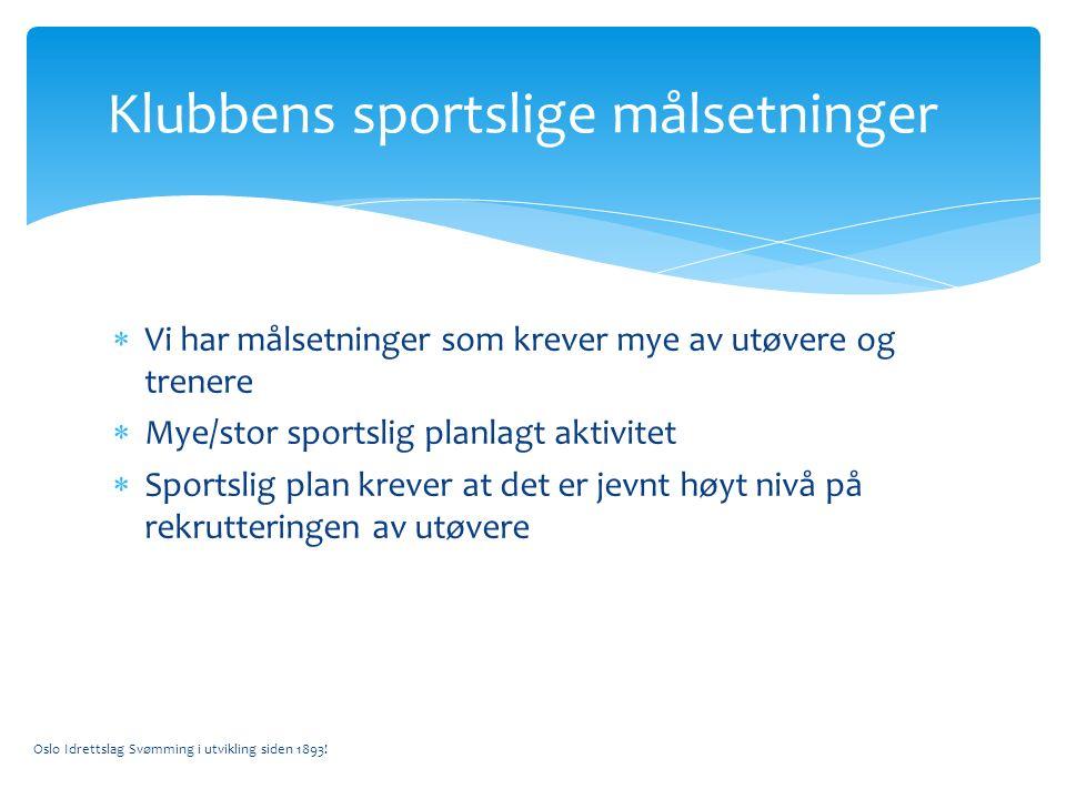  Vi har målsetninger som krever mye av utøvere og trenere  Mye/stor sportslig planlagt aktivitet  Sportslig plan krever at det er jevnt høyt nivå på rekrutteringen av utøvere Oslo Idrettslag Svømming i utvikling siden 1893.