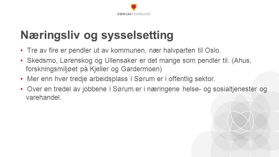 Næringsliv og sysselsetting Tre av fire er pendler ut av kommunen, nær halvparten til Oslo.