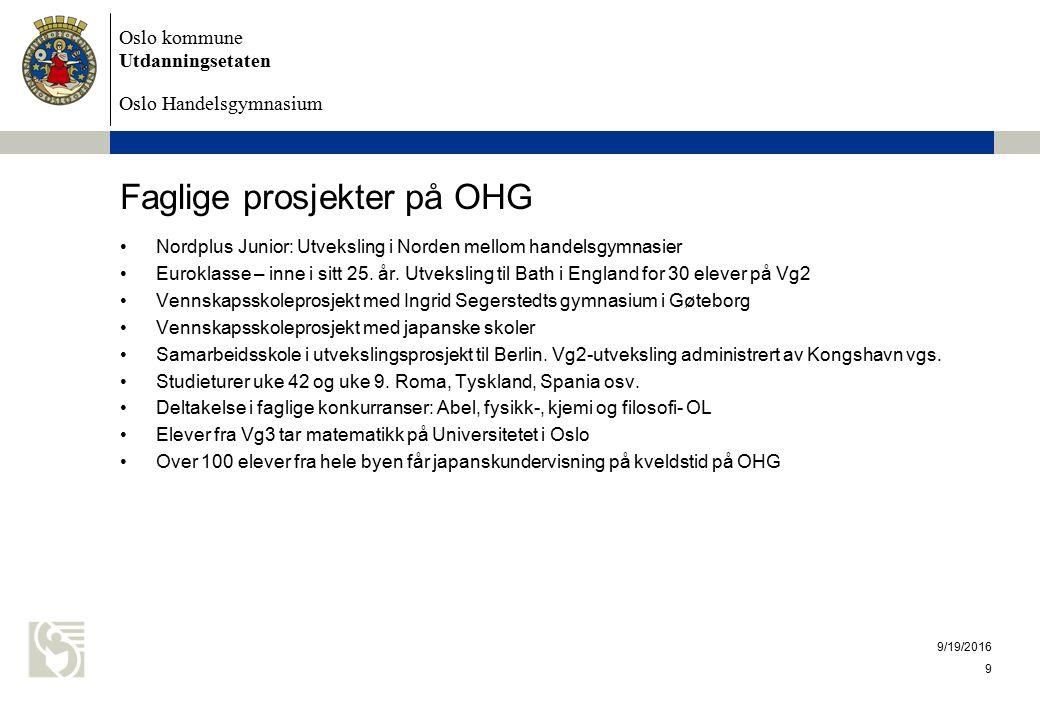 Oslo kommune Utdanningsetaten Oslo Handelsgymnasium Faglige prosjekter på OHG Nordplus Junior: Utveksling i Norden mellom handelsgymnasier Euroklasse – inne i sitt 25.