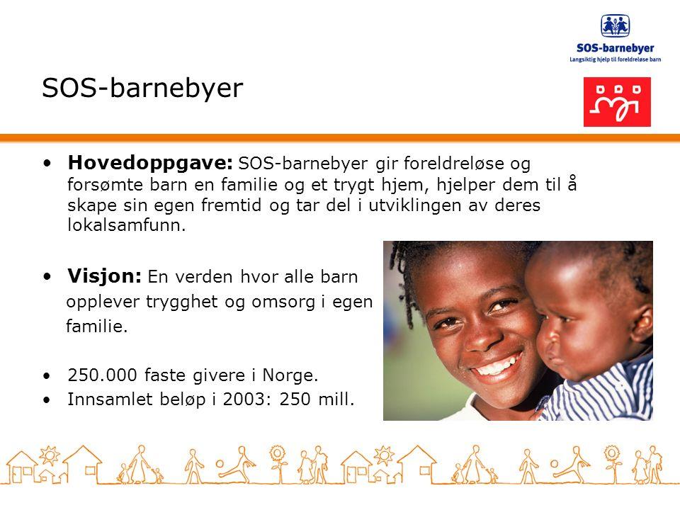 SOS-barnebyer Hovedoppgave: SOS-barnebyer gir foreldreløse og forsømte barn en familie og et trygt hjem, hjelper dem til å skape sin egen fremtid og tar del i utviklingen av deres lokalsamfunn.
