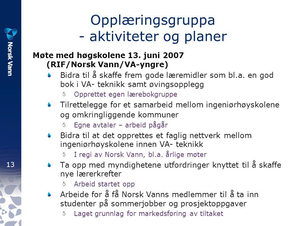 13 Opplæringsgruppa - aktiviteter og planer Møte med høgskolene 13.