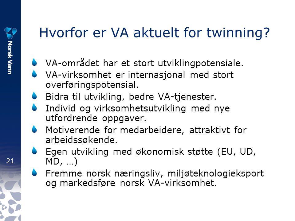 21 Hvorfor er VA aktuelt for twinning. VA-området har et stort utviklingpotensiale.