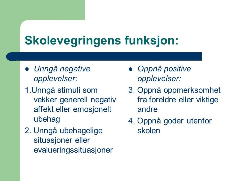 Skolevegringens funksjon: Unngå negative opplevelser: 1.Unngå stimuli som vekker generell negativ affekt eller emosjonelt ubehag 2. Unngå ubehagelige