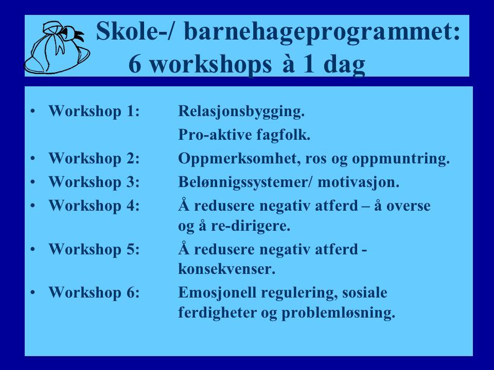 Skole-/ barnehageprogrammet: 6 workshops à 1 dag Workshop 1:Relasjonsbygging.