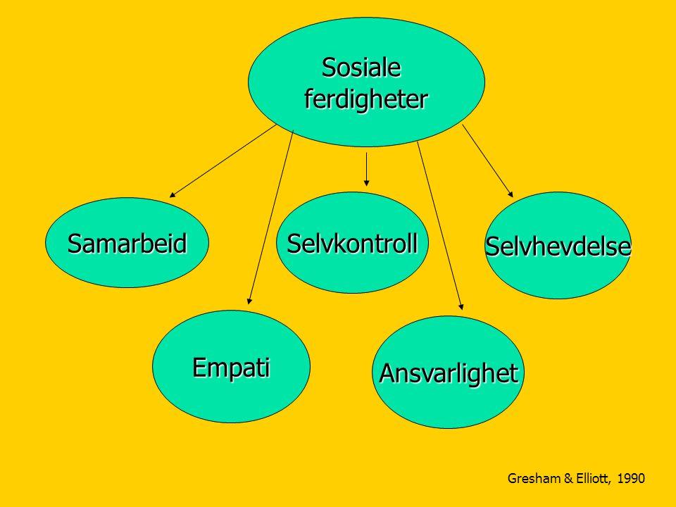 Sosialeferdigheter Samarbeid SelvkontrollSelvhevdelse Empati Ansvarlighet Gresham & Elliott, 1990