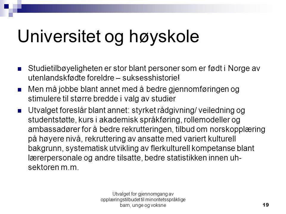 Universitet og høyskole Studietilbøyeligheten er stor blant personer som er født i Norge av utenlandskfødte foreldre – suksesshistorie! Men må jobbe b