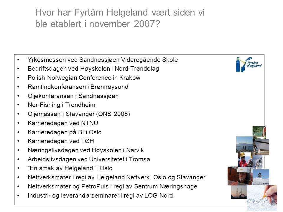 Hvor har Fyrtårn Helgeland vært siden vi ble etablert i november 2007.