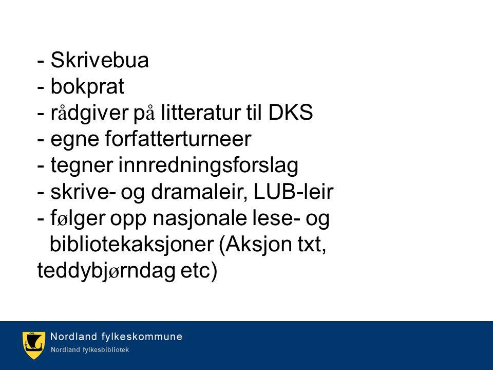 Kulturetaten/Nordland fylkesbibliotek Nordland fylkesbibliotek - Skrivebua - bokprat - r å dgiver p å litteratur til DKS - egne forfatterturneer - teg