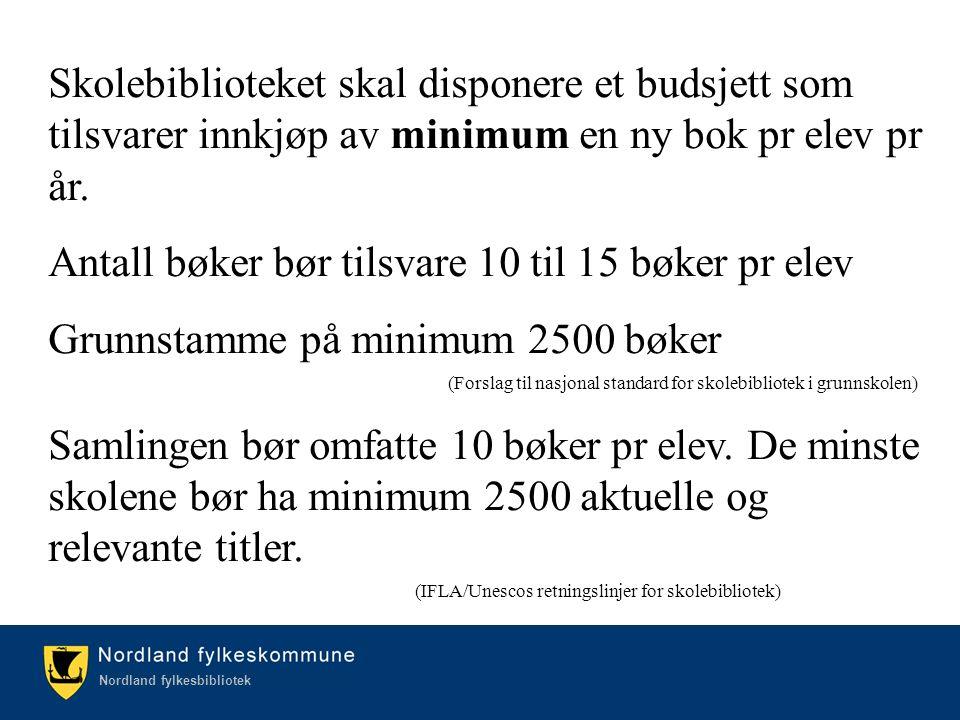 Kulturetaten/Nordland fylkesbibliotek Nordland fylkesbibliotek Skolebiblioteket skal disponere et budsjett som tilsvarer innkjøp av minimum en ny bok pr elev pr år.