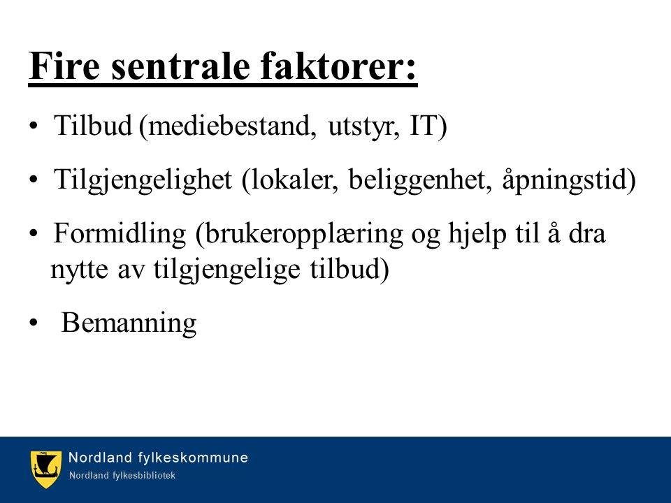 Kulturetaten/Nordland fylkesbibliotek Nordland fylkesbibliotek Fire sentrale faktorer: Tilbud (mediebestand, utstyr, IT) Tilgjengelighet (lokaler, beliggenhet, åpningstid) Formidling (brukeropplæring og hjelp til å dra nytte av tilgjengelige tilbud) Bemanning