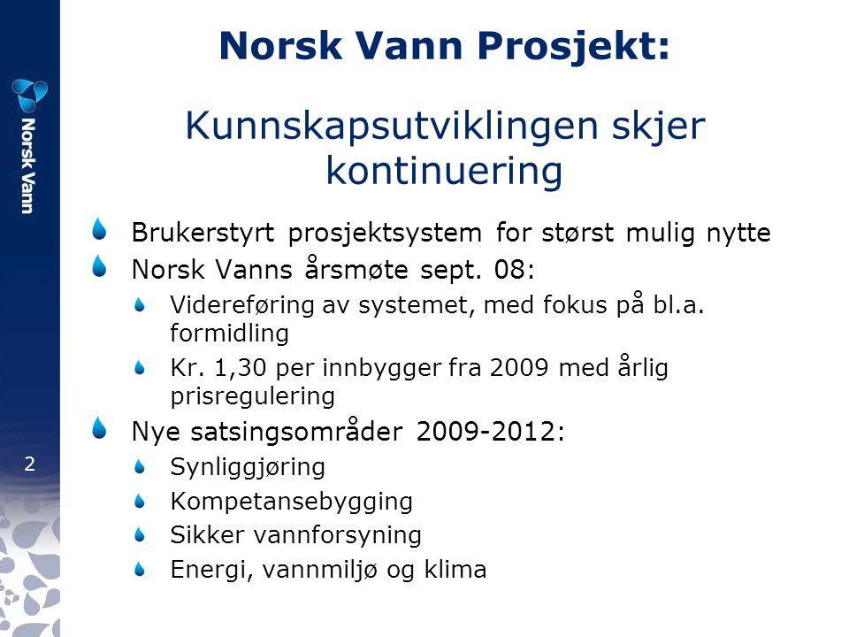 2 Norsk Vann Prosjekt: Kunnskapsutviklingen skjer kontinuering Brukerstyrt prosjektsystem for størst mulig nytte Norsk Vanns årsmøte sept.