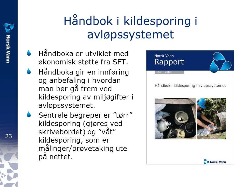 23 Håndbok i kildesporing i avløpssystemet Håndboka er utviklet med økonomisk støtte fra SFT.