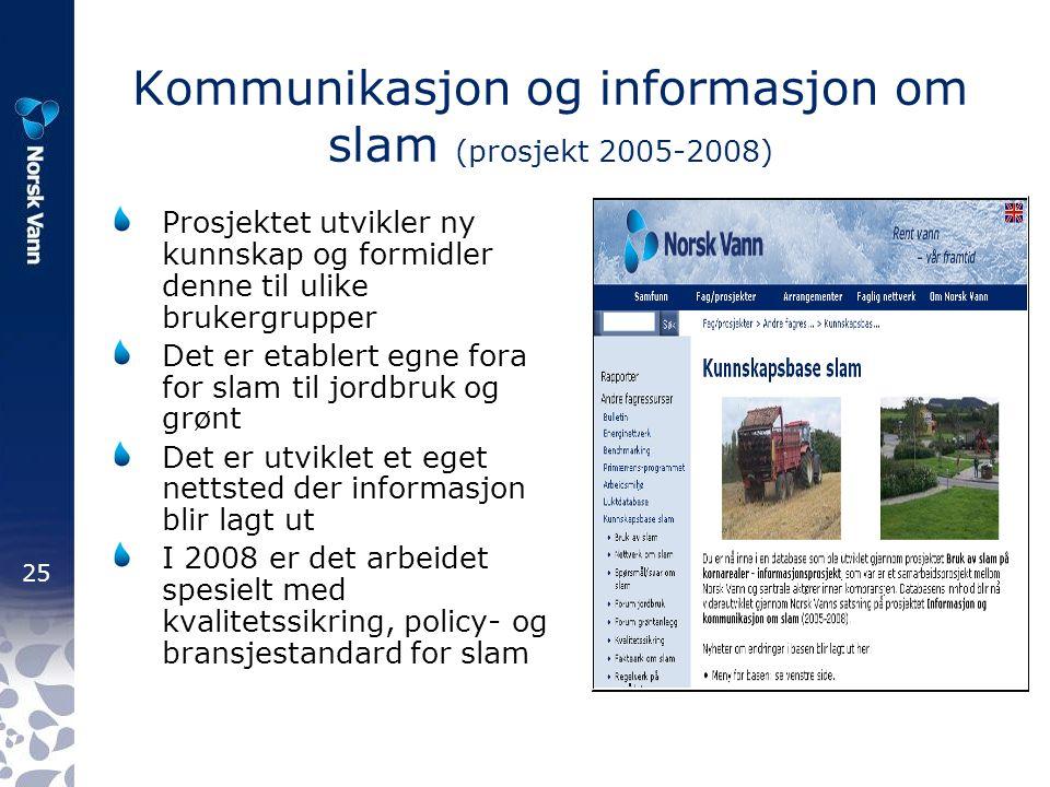 25 Kommunikasjon og informasjon om slam (prosjekt 2005-2008) Prosjektet utvikler ny kunnskap og formidler denne til ulike brukergrupper Det er etablert egne fora for slam til jordbruk og grønt Det er utviklet et eget nettsted der informasjon blir lagt ut I 2008 er det arbeidet spesielt med kvalitetssikring, policy- og bransjestandard for slam