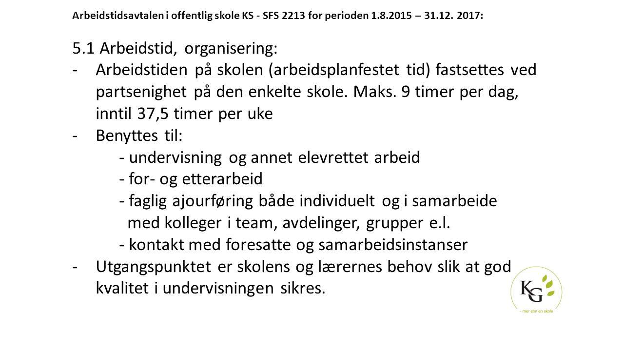 Arbeidstidsavtalen i offentlig skole KS - SFS 2213 for perioden 1.8.2015 – 31.12. 2017: 5.1 Arbeidstid, organisering: -Arbeidstiden på skolen (arbeids