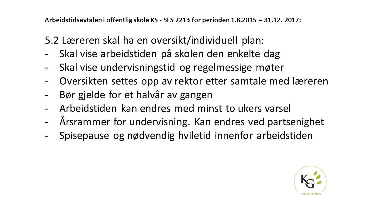 Arbeidstidsavtalen i offentlig skole KS - SFS 2213 for perioden 1.8.2015 – 31.12. 2017: 5.2 Læreren skal ha en oversikt/individuell plan: -Skal vise a