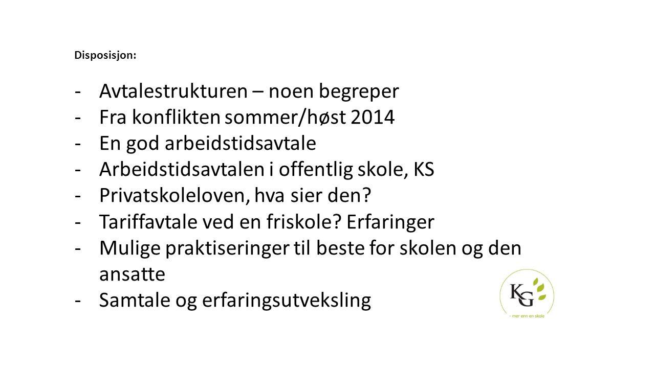 Disposisjon: -Avtalestrukturen – noen begreper -Fra konflikten sommer/høst 2014 -En god arbeidstidsavtale -Arbeidstidsavtalen i offentlig skole, KS -P