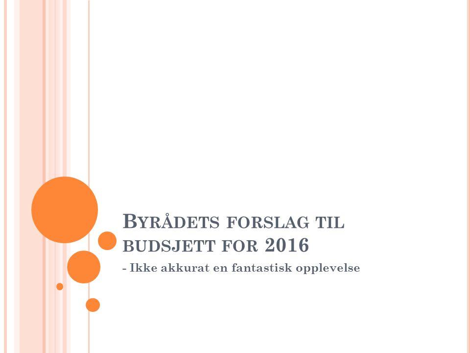 B YRÅDETS FORSLAG TIL BUDSJETT FOR 2016 - Ikke akkurat en fantastisk opplevelse