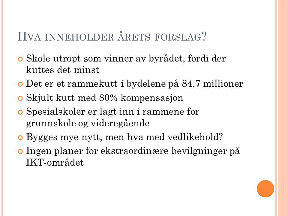 F ORELØPIG KONKLUSJON Det blir 2000 flere elever i Osloskolen, de reelle kuttene tilsvarer omtrent 50 lærerstillinger Bydelene rammes hardest Det er et ostehøvelbudsjett Vi jobber med å se på konsekvensene av at spesialskolene legges sammen med resten av grunnskolen