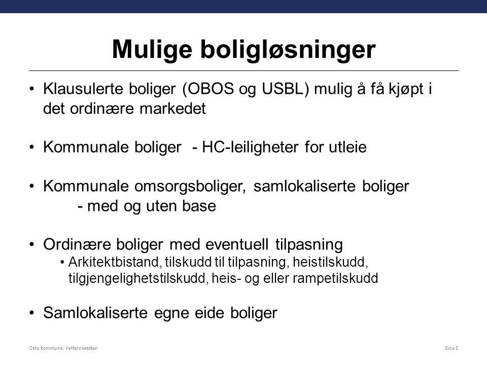 Mulige boligløsninger Klausulerte boliger (OBOS og USBL) mulig å få kjøpt i det ordinære markedet Kommunale boliger - HC-leiligheter for utleie Kommunale omsorgsboliger, samlokaliserte boliger - med og uten base Ordinære boliger med eventuell tilpasning Arkitektbistand, tilskudd til tilpasning, heistilskudd, tilgjengelighetstilskudd, heis- og eller rampetilskudd Samlokaliserte egne eide boliger Oslo kommune, VelferdsetatenSide 2