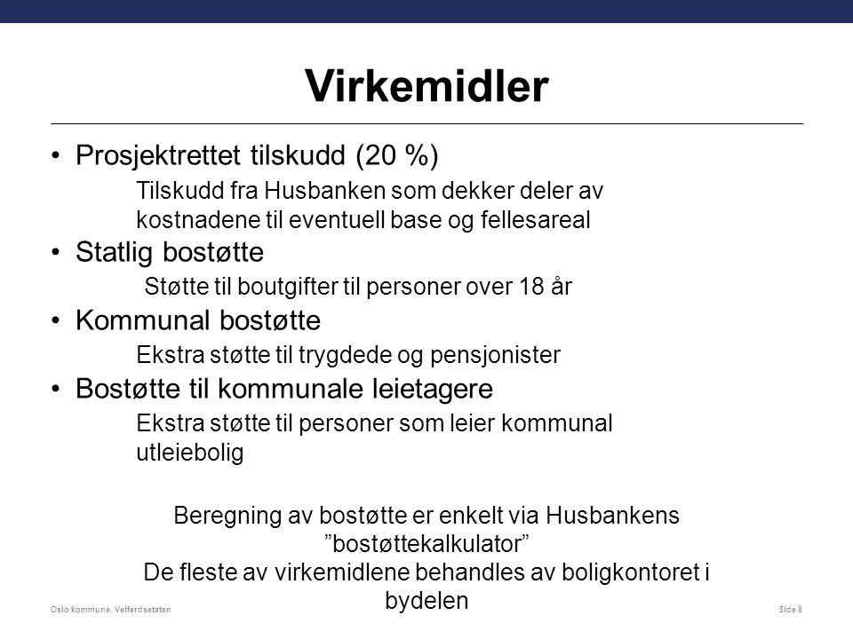 Virkemidler Prosjektrettet tilskudd (20 %) Tilskudd fra Husbanken som dekker deler av kostnadene til eventuell base og fellesareal Statlig bostøtte St