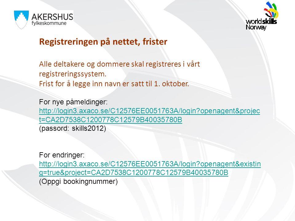 Registreringen på nettet, frister Alle deltakere og dommere skal registreres i vårt registreringssystem. Frist for å legge inn navn er satt til 1. okt