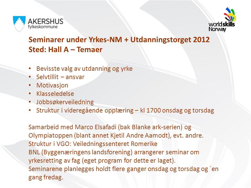 Seminarer under Yrkes-NM + Utdanningstorget 2012 Sted: Hall A – Temaer Bevisste valg av utdanning og yrke Selvtillit – ansvar Motivasjon Klasseledelse