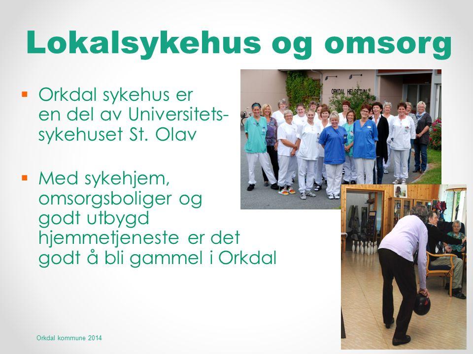 Lokalsykehus og omsorg  Orkdal sykehus er en del av Universitets- sykehuset St. Olav  Med sykehjem, omsorgsboliger og godt utbygd hjemmetjeneste er