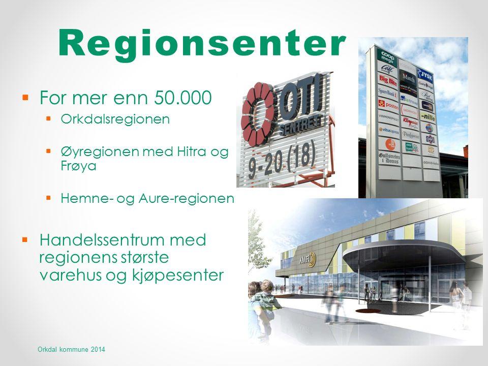 Regionsenter  For mer enn 50.000  Orkdalsregionen  Øyregionen med Hitra og Frøya  Hemne- og Aure-regionen  Handelssentrum med regionens største v