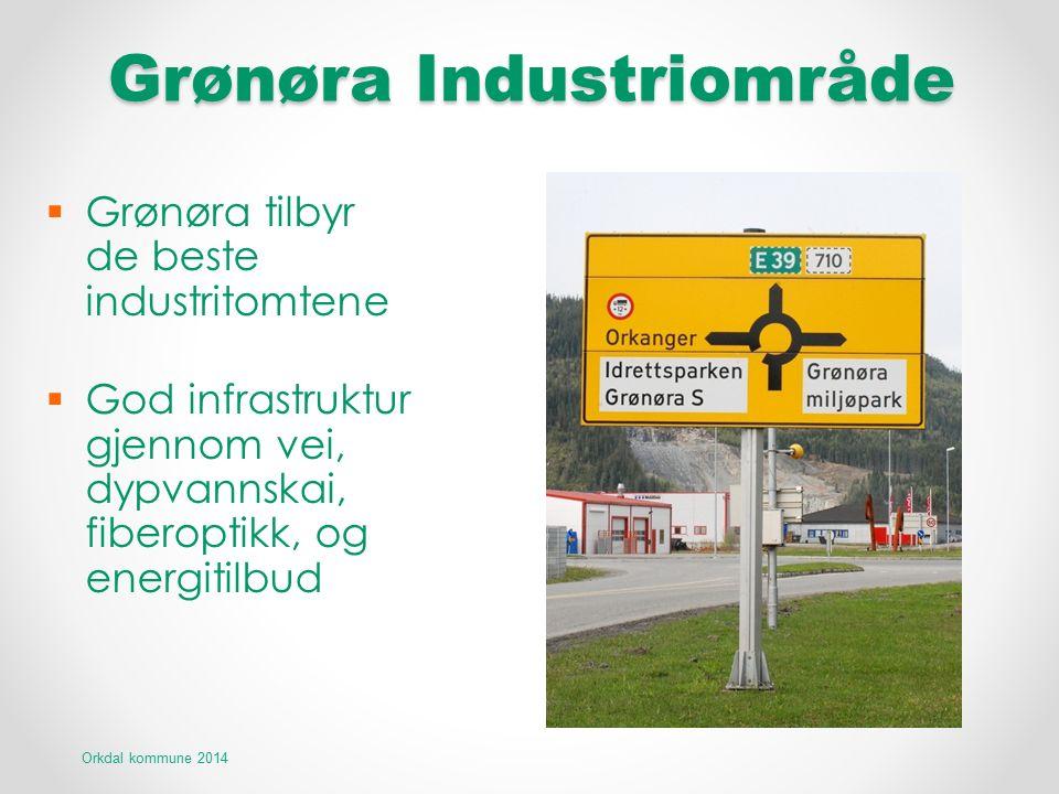 Grønøra Industriområde  Grønøra tilbyr de beste industritomtene  God infrastruktur gjennom vei, dypvannskai, fiberoptikk, og energitilbud Orkdal kom