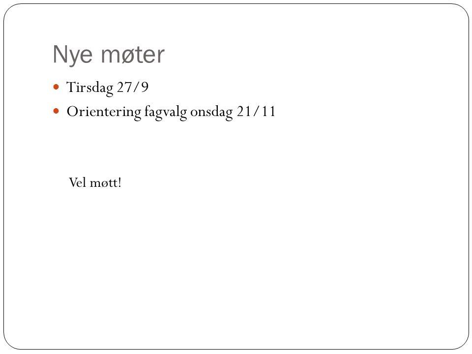 Nye møter Tirsdag 27/9 Orientering fagvalg onsdag 21/11 Vel møtt!