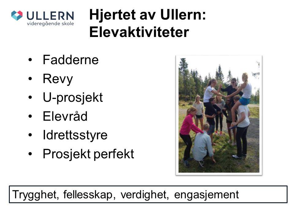 Hjertet av Ullern: Elevaktiviteter Fadderne Revy U-prosjekt Elevråd Idrettsstyre Prosjekt perfekt Trygghet, fellesskap, verdighet, engasjement