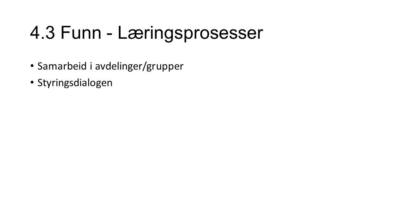 4.3 Funn - Læringsprosesser Samarbeid i avdelinger/grupper Styringsdialogen